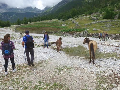 Vadestedet på stien der fører op til passet og grænsen til Montenegro.